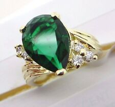 Cubic Zirconia Green Teardrop Shape Gold Colored Ring Size 8 Rhodium Plated