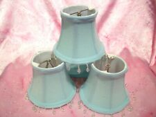 "Mini Lamp Shades Clip-on Light Aqua Blue Marina Color beaded ""3 x 5"" x 4"""