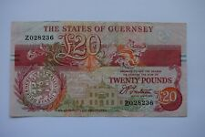 More details for states of guernsey twenty £20 pounds banknote z028236 trestain replacement note