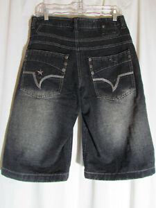 Infamous Raider Jean Co Denim Jeans Shorts Faded Black Design Pockets Size W 30