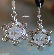 handcrafted mandala silver and white chainmaille EARRINGS