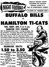 CFL 1961 Ad Advertisement Hamilton Tiger Cats vs Buffalo Bills 8 X 10 Photo