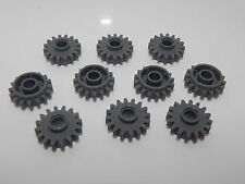 Lego Lot Of 10 Dark Bluish Gray Technic, Gear 16 Tooth with Clutch, Smooth