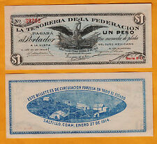 "Mexico 1914 ""La Tesoreria de la Federacion"" $1 Pick-M1088 UNC"