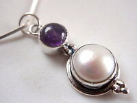 Pearl and Amethyst Round Cabochon 925 Sterling Silver Pendant New