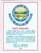 Vintage Old 1965 Political Advertising Brochure Ohio State Emblems Ted W. Brown