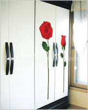 2 Perfect Red Rose Flowers Art Decal Wall Stickers