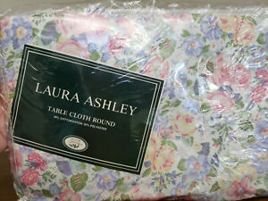 "Vintage Laura Ashley Quartet 72"" Round Tablecloth Rare HTF New Floral"