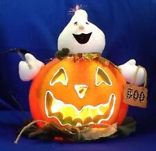 Lighted Fiber Optic Halloween Pumpkin And Ghost