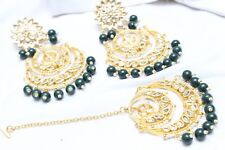 Indian Bollywood Partywear Pearl Kundan Green Maang Tikka Earrings Set Jewelry