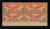 1934 Airmail Sc C19 6c orange MNH plate block  Durland CV $25