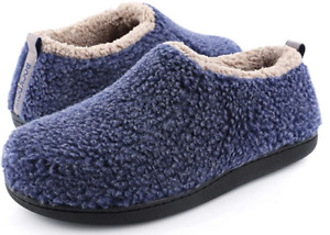 RockDove Men's Sherpa Ankle Bootie with Memory Foam (M, U.S. 8/9, Navy Blue)