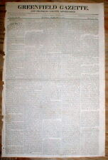Rare original 1827 newspaper GREENFIELD GAZETTE Massachusetts w HENRY KNOX biog
