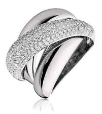 Pave Diamond Band 1.35ct F VS Chunky Wedding Ring 15mm Wide in 18ct White Gold