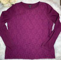 TALBOTS Size XL Eggplant Purple Cotton Knit Lace Front Top Long Sleeve Shirt