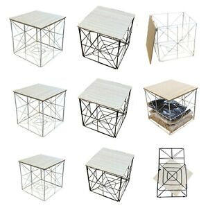 SQUAR FOLDABLE METAL WIRE WOOD TOP COFFEE SIDE TABLE STORAGE BASKET WHITE BLACK