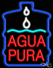 Brand New Agua Pura 31x24 Withlogo Real Neon Sign Withcustom Options 10395