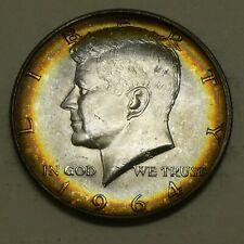 1964 50C Kennedy Half Dollar Toned Rainbow