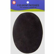 2 Large Natural Suede Leather Sew-On Elbow Repair Patches 4.75 x 6.5 in - Black