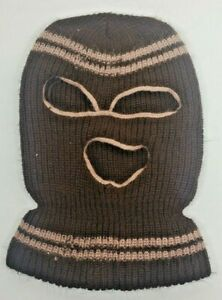 Vintage Brown and beige Knit Winter Ski Face Mask Three Hole