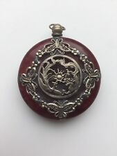 Vintage Chinese Silver Red Amber Like Dragon And Phoenix Pendant
