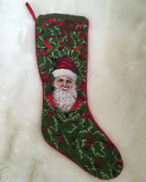 "VTG Father Christmas Stocking Wool NEEDLEPOINT OLD WORLD SANTA 22"" PETIT POINT"