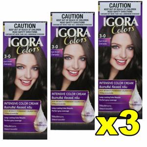 45% OFF RRP  3x Schwarzkopf Igora Intensive Permanent Hair Colour 3-0 Dark Brown