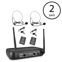 Pyle Pro Bodypacks, Lavaliers, Headsets VHF Wireless Microphone System (2 Pack)