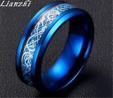 Lianzhi 8mm Silvering Celtic Dragon Stainless Steel Ring Mens Jewelry Men's/xhs Blue & Silver 10