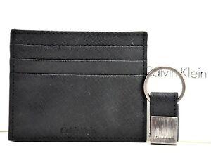 Calvin Klein Mens Leather RFID Card Holder Wallet and Key Ring Set Black
