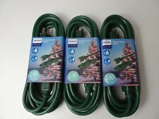 PACK OF 3 Philips 15ft Green Grounded Extension Cord 3 Outlet Indoor/Outdoor Use