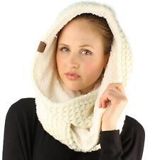 Winter Warm Soft Sherpa Fleece Thick Knit Loop Infinity Ski Hood Scarf Ivory