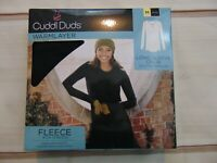 Cuddl Duds Women's Size Medium Long Sleeve Crew Warmlayer Top Black New Fleece