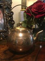 Vintage Brass Floral Etched Tea Kettle Made In India By Brass & Craft Imports