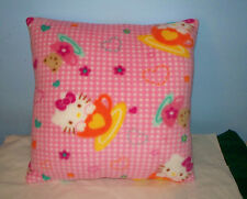 NEW HANDMADE PINK GINGHAM FLEECE HELLO KITTY  PILLOW L@@K