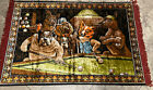 Vintage P & C Italy Woven Welvet Dog, Pool Tapestry Wall Hanging Size 48 X 70!