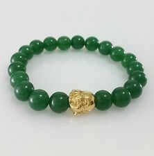 Men 18K Yellow Gold Plated Stainless Steel Buddha Charm Jade Beaded Bracelet