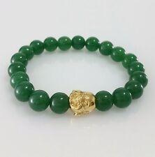 Men 18K Yellow Gold Plated Stainless Steel Buddha Charm Jade Beaded Bracelet