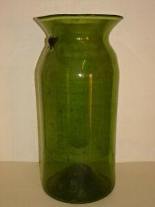 Grand bocal,(41cm) en verre soufflé ancien.XVIII°- XIX°.Bombonne,bouteille,vase.