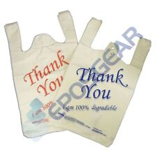 More details for white blue red large thank you 100% degradable eco plastic vest carrier bags