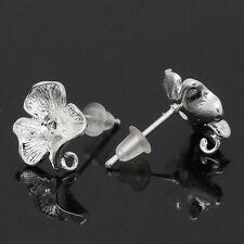 50pcs Clous d'oreilles&Embouts Fleur Argenté 17x12mm K15342