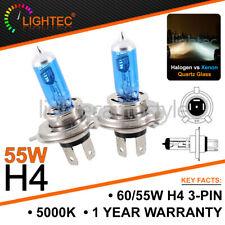2x LIGHTEC H4 55W 5000K HID XENON SUPER WHITE HALOGEN BULBS 12V PLASMA UPGRADE