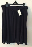 """Ladies M&S Classic Size 20 Navy Knee Length Crepe Skirt with Tie Belt Bnwt 27""""L"""