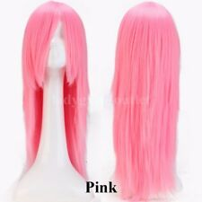Curly Straight Wig Long Full Head Wig With Bangs Ombre Cosplay Colorful Women Bx
