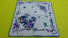 Vintage Child's Handkerchief Teal Purple & Green - Estate!