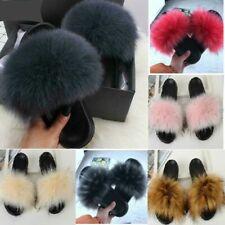 Luxury Women's Fox Fur Slides Fuzzy Furry Slippers Comfort Sliders Sandals Shoes