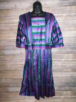 Vintage 70s M L Blue Pink Green Stripe Midi Day Dress 3/4 Sleeve Square Collar