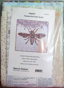 "Nancy's Notions ""Phoebee Bee Quilt Top"" Quilt Kits Pattern/Fabrics 36"" x 36"""