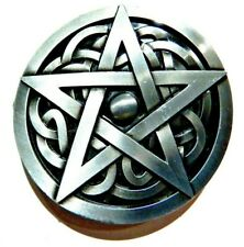 irish Norse Wiccan pentacle gothic H1 Pewter Pentagram & Celtic Knot Belt Buckle