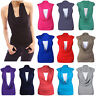 Ladies Plain Sleeveless Gathered Cowl Neck Stretchy Vest T Shirt Sexy Top
